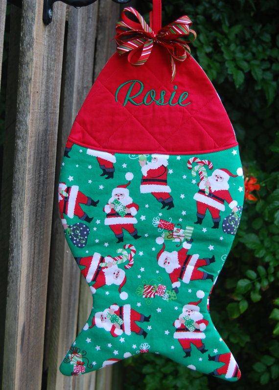 Fish shaped christmas stocking personalized cats for Fish stocking ca