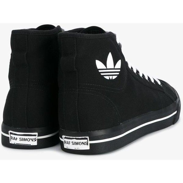Adidas By Raf Simons Adidas By Raf Simons Raf Simons X Adidas 'Matrix... ($93) ❤ liked on Polyvore featuring shoes, sneakers, lace up sneakers, high top shoes, black shoes, flat sneakers and adidas high tops