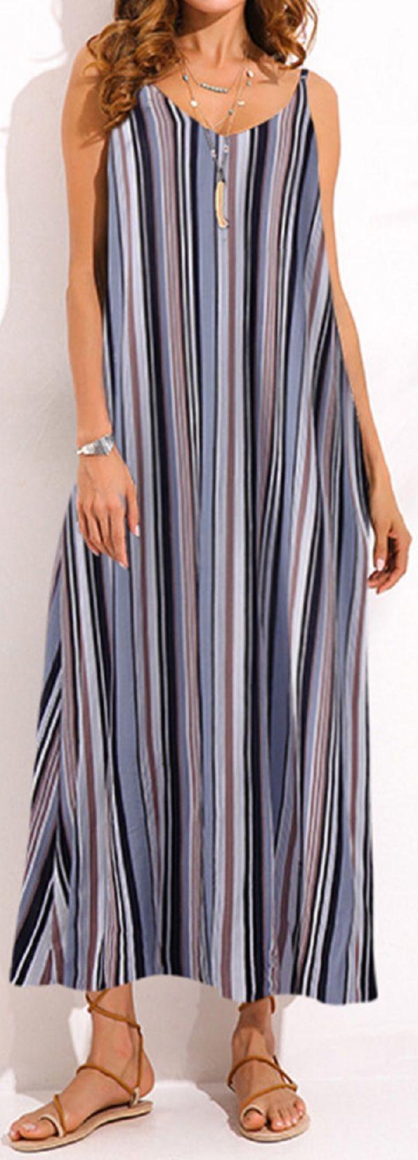US$ 20.54 O-NEWE Bohemian Women Stripe Spaghetti Strap Backless Beach Maxi Dress