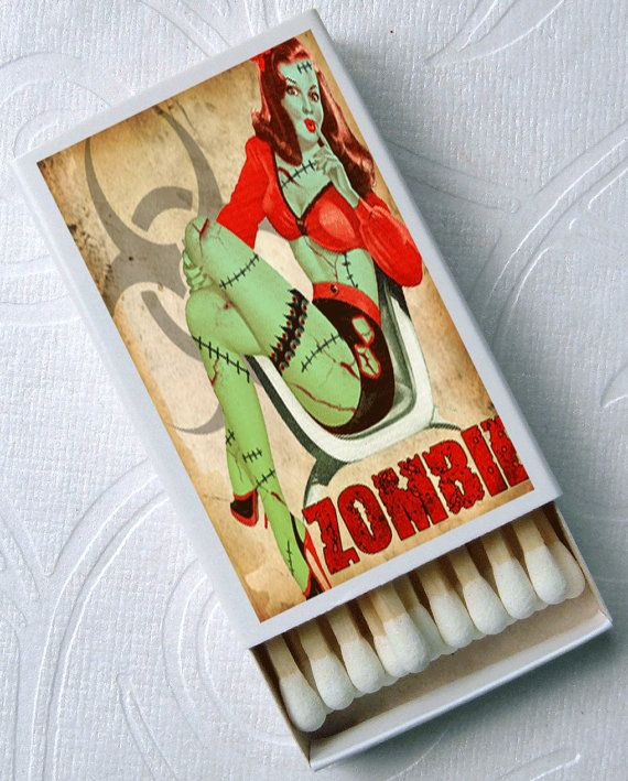 Women Love Brains Zombie Horror Halloween Pin Up Party Favor Set of 4 Match Boxes. $6.00, via Etsy.