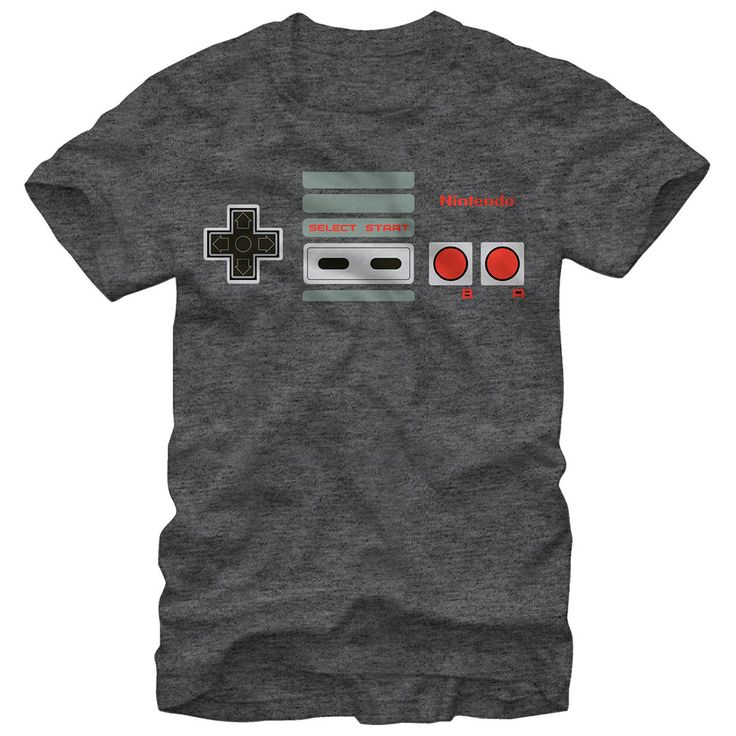 Push My ButtonsRevive your love for video games like Super Mario Bros, Duck Hunt, and the Legend of Zelda with the Nintendo NES Controller Buttons Heather Charcoal T-Shirt. The buttons and details from the Nintendo Entertainment System controller are  on the front Nintendo Super Mario