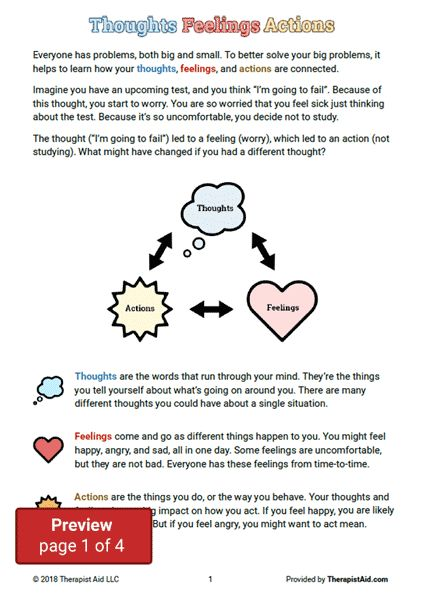 CBT for Kids Thoughts, Feelings, & Actions Worksheet ...