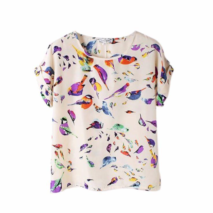 Zomer Mode O Hals Vogel Gedrukt Vrouwen Tops Kleurrijke Korte Mouwen Vrouwelijke T-Shirts Batwing Losse Chiffon Overhemd Feminino