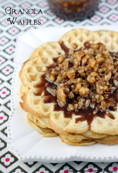 Granola Waffles with Butter Pecan Syrup by Cinnamon Spice and ...