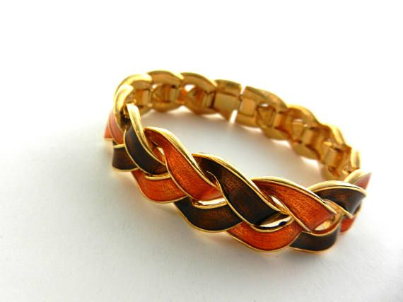 Gorgeous orange & chocolate braided  design bracelet