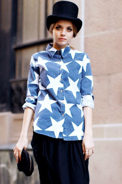 Large star print denim shirt, and the top hat adds a nice touch