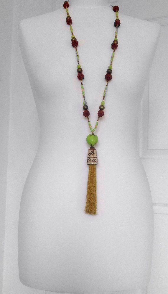 collana di gioielli etnici womens grande nappa collana