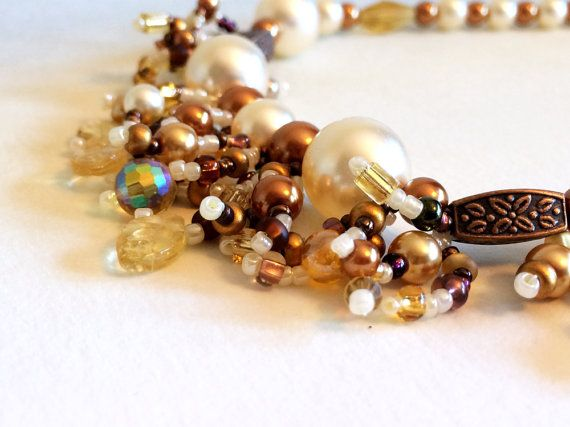 Cream & Gold Pearl Beaded Necklace. by AriadnesCreations on Etsy