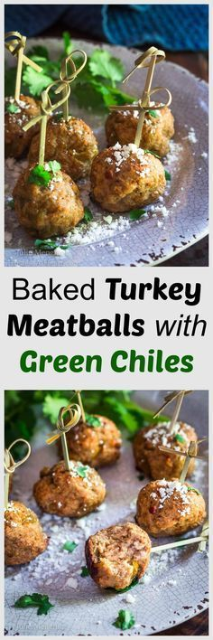 Baked Turkey Meatballs with Green Chiles are perfect as an appetizer, topping a southwest salad or even stuffed in a hoagie. They're perfect for any time of year but especially tailgating! | HostessAtHeart.com via @HostessAtHeart