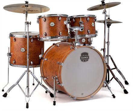 Mapex Storm ST5255 5-Pc Standard Drum Set Camphor Wood Grain IC.  Drum set Mapex Standard lengkap dengan semua perangkat keras termasuk, aksesibilitas bagi dan untuk kemudahan perakitan untuk pemain drum tanpa mengorbankan kualitas suara. Semua Shells kayu poplar dilengkapi dengan Mapex SONIClear bantalan tepi yang membuat kemudahan tuning serta memberikan drum yang kaya nada.