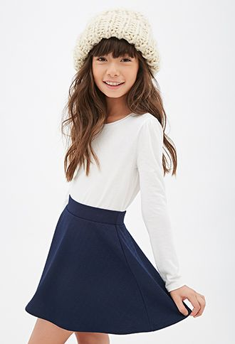 Geo-Patterned Skater Skirt (Kids) | FOREVER21 girls - 2000099141 IN THE COLOR CREAM AND SIZE 9/10