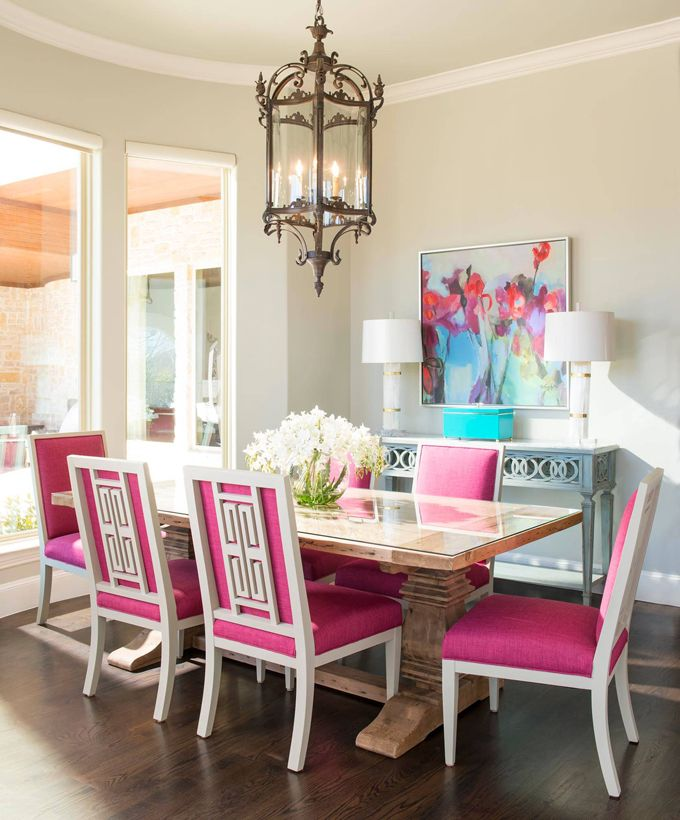 dining room with hot pink chairs | IBB Design Fine Furnishings