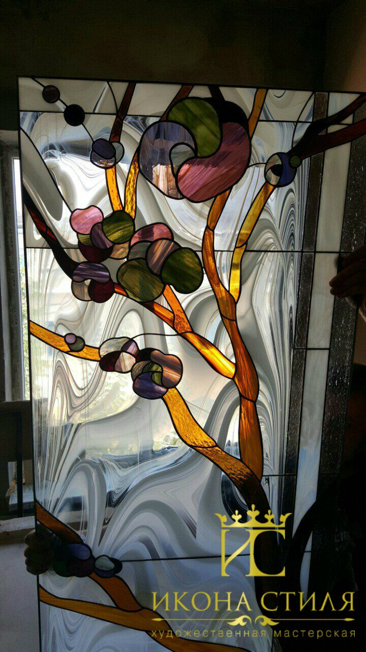 Photo report from our workshop. We completed another Tiffany stained glass window for a private house of our customer. #art #studio #workshop #stainedglass #tiffany #window #glass #handwork #interior #decor #architecture #design