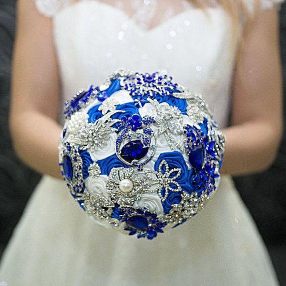 Brooch bouquet, Bridal Wedding Bouquet, Wedding Boutonniere, Wedding Set, blue and white, vintage, Broach Bouquet, royal blue bouquet