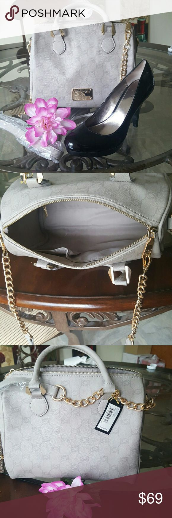 Bebe purse Sophisticated beige/grey bebe purse with gold accents. Includes detachable shoulder strap. Dimensions are 9.5 inches tall and 10.5 inches wide. New never used. bebe Bags Totes