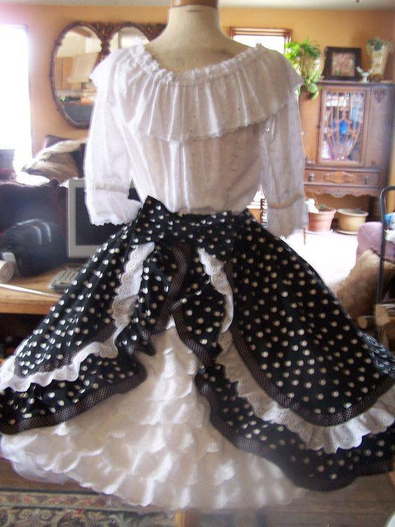 New black dot bustled square dance skirt by tdsrdesigns on Etsy, $94.95