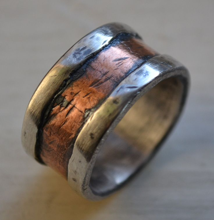mens wedding band - rustic fine silver and copper - handmade hammered artisan designed wide band ring - manly ring - customized. $255.00, via Etsy.