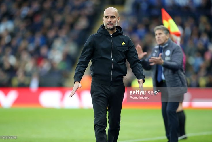 Manager Pep Guardiola of Manchester City during the Premier League match between Leicester City and Manchester City at The King Power Stadium on November 18, 2017 in Leicester, England.