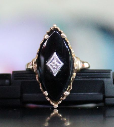 Vintage-14k-Yellow-Gold-Marquise-Cut-Black-Onyx-Diamond-Ring-Size-6-5