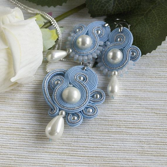 Sky blue soutache necklace pendant white pearl drop pendant