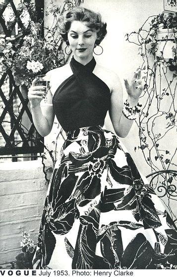 Vogue magazine, Harvey Nichols ad, 1953, oversized tropical floral print skirt