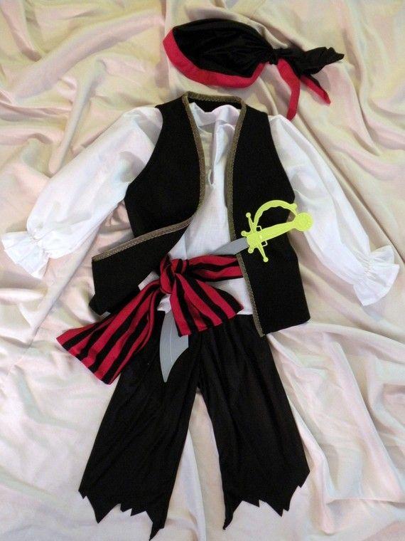 Pirate costume Boy Halloween child with black/red striped sash