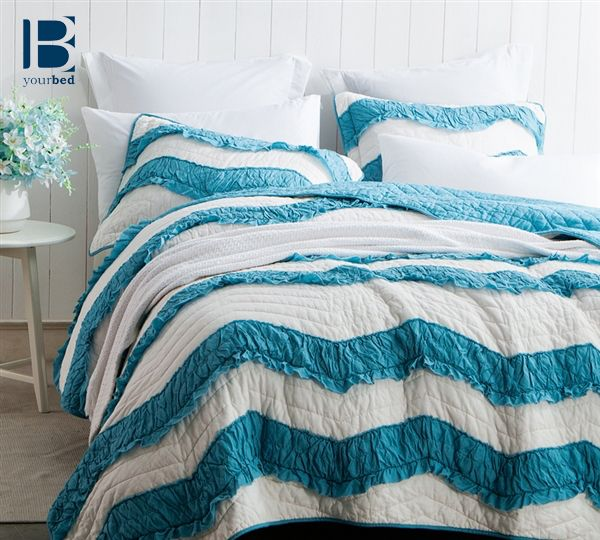 Add trendy #Boho_Decor to your bedroom without compromising comfort! The BYB Jet Stream/Peacock Relaxin' Chevron Ruffles Quilt  Two Tone is comfy and a great addition to your #bedding and decor. #Quilt #Comfy_Quilt #Ruffled_Quilt #Chevron_Bedding #Chevron_Comforter #Two_Tone_Bedding #Decorative_Bedding #Cozy_Quilt #Beautiful_Quilt #Peacock_Blue_Bedding #Blue_Quilt #Chevron_Quilt
