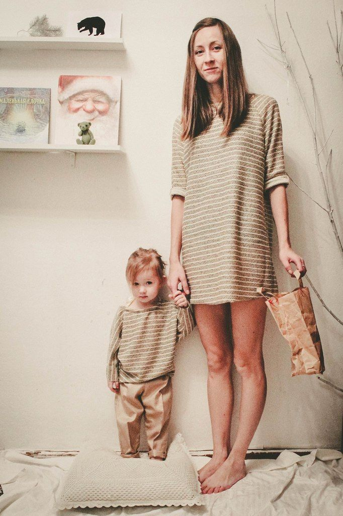 Dress for woman, pants and blouse for kids, from Grecha.