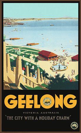Geelong. 'The City with a Holiday Charm'. Victoria, Australia by James Northfield c.1930s   http://www.vintagevenus.com.au/vintage/reprints/info/TV577.htm