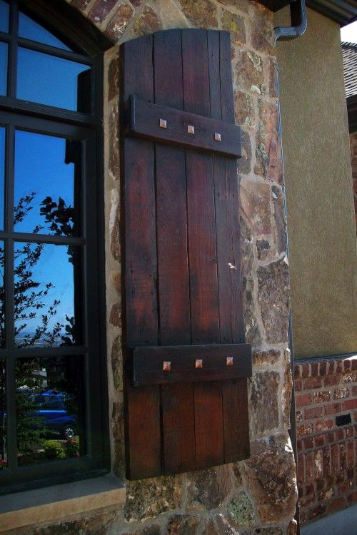 1000 images about exterior wood shutters on pinterest for Wood doors and shutters