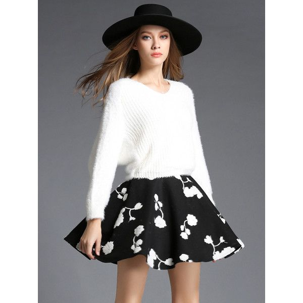 White V Neck Batwing Sweater With Black Skirt (4950 ALL) ❤ liked on Polyvore featuring tops, sweaters, long v neck sweater, black sweater, black top, black white top and long sweaters