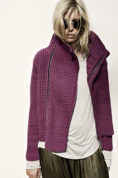 shade of plum. statement collar. fabulous texture.
