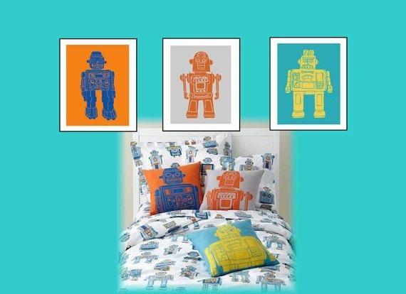 27 best robot room images on pinterest boy nurseries for Robot baby room decor