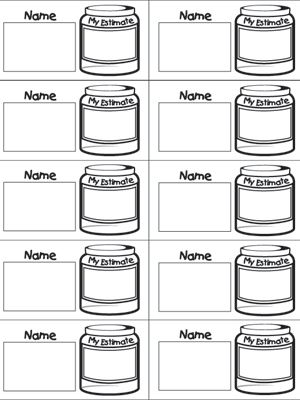 Here's a set of slips for students to record their estimate of items in the estimation jar.