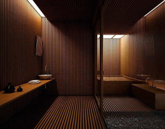 Spa like bathroom in warm wood