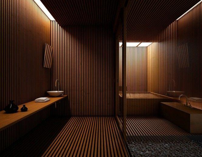 une salle de bains ultra moderne toute en bois avec un vasque blanc et ovale