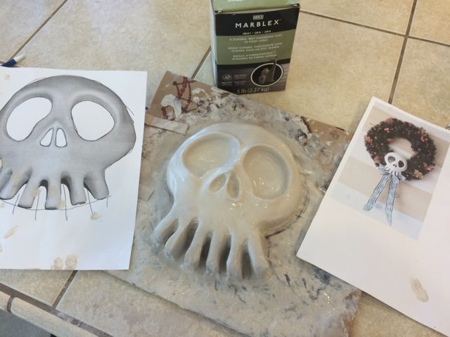 Hi guys! This year the kids wanted to up the ante on our Nightmare Before Christmas theme and I found Kristie's excellent http://diynmbcprops.blogspot.com props website. One thing the kids loved was the Haunted Mansion wreath skull and I thought we could try making it ourselves. One trip to the prop store and we're off making our very first mold and foam casting!Let me start by saying that Kristie has cast these from an original Disney skull and her's are really awesome.We start