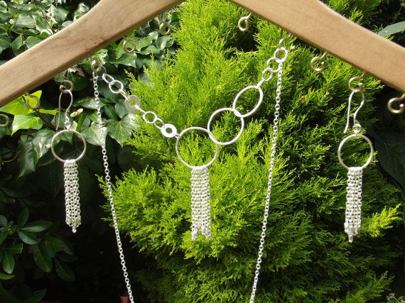 Fine and Sterling silver circles chains Set stunning and