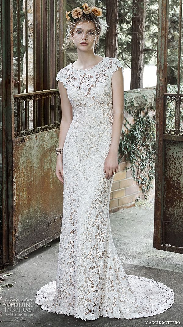 maggie sottero fall 2015 wedding dresses gorgeous stunning sheath gown jewel neckline cap sleeves trudy