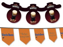 Bunting - Our extensive experience means that we can provide custom printed bunting in a variety of shapes. Printed in-house and on resilient materials the finished promotional bunting will be a strong compliment to your point of sale marketing campaign.