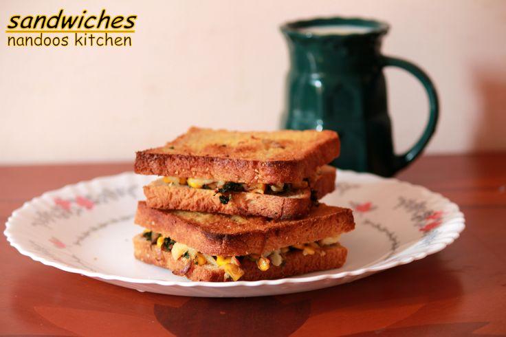 mushroom spinach and corn sandwich http://nandooskitchen.blogspot.in/2014/09/mushroom-spinach-and-corn-sandwich.html