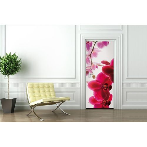 1 Wall Orchid Flower Floral Door Wallpaper Door Mural Giant Photo Print Deco