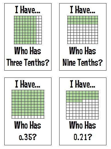 I have...Who has... (fractions, decimals, percents)
