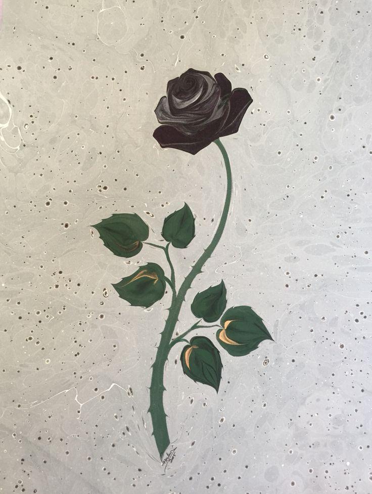 Firdevs Çalkanoğlu imzalı ebru #marbling #gül #rose #blackrose