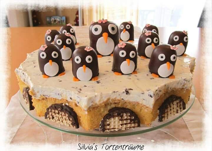 Silvia's Tortenträume: Mohrenkopf-Torte mit Pinguinen Pinguin Minimohren-Kopf Deko Pinguin-Deko Anleitung Cake einfach