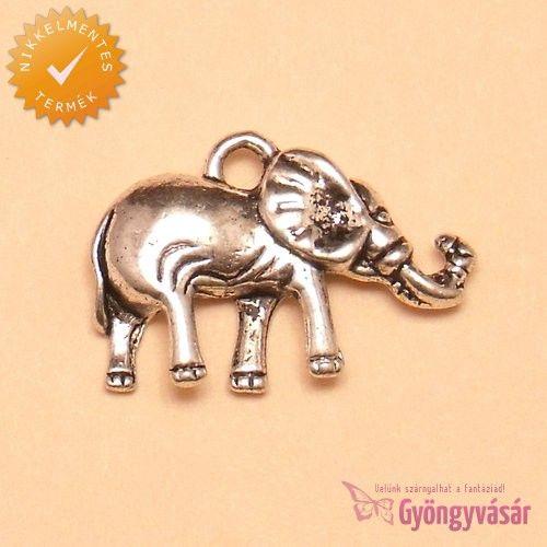 Ezüstszínű erdei elefánt - nikkelmentes fém zsuzsu / fityegő • Gyöngyvásár.hu