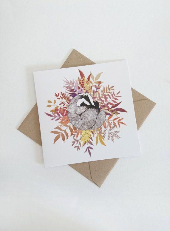 Sleepy Badger  Square card