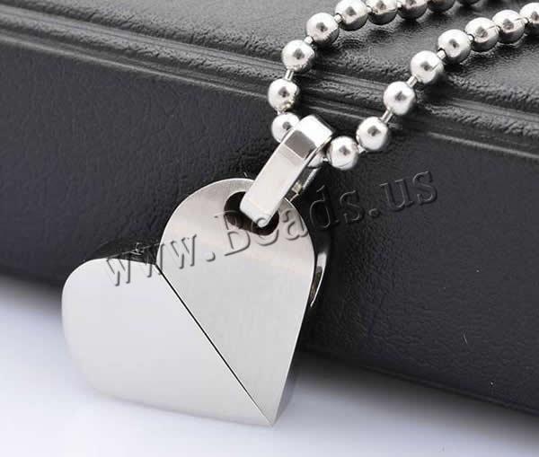 Acier inoxydable Coeur Pendentifs, acier inoxydable 316L, couleur originale, 21x20mm, Trou:Environ 3x5mm, 2PC/lot, Vendu par lot,perles bijoux en gros de Chine