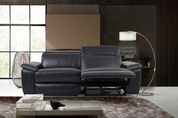 Enjoy an ambiance of refined modern elegance with the Aura BlackTop Grain Leather Power Reclining Loveseat by Levoluxe. This designer loveseat, with two power reclining seats offers a modular design for custom configuration. Each piece is constructed with premium high-end materials for an ultimately luxurious look and feel. Featuring sturdy wood frame construction with individually pocketed coil spring seating support, and lavish upholstery black natural top grain leather .