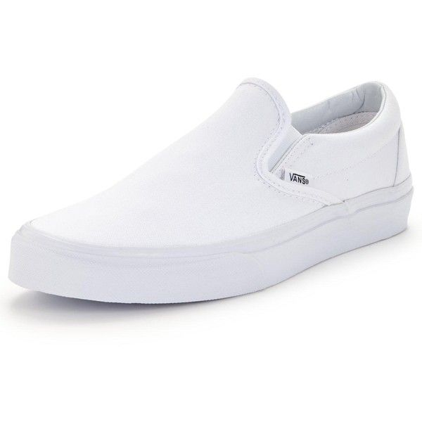 Vans Classic Slip-On Plimsolls ($62) ❤ liked on Polyvore featuring shoes, sneakers, elastic shoes, slip-on sneakers, slip on trainers, slip-on shoes and logo shoes